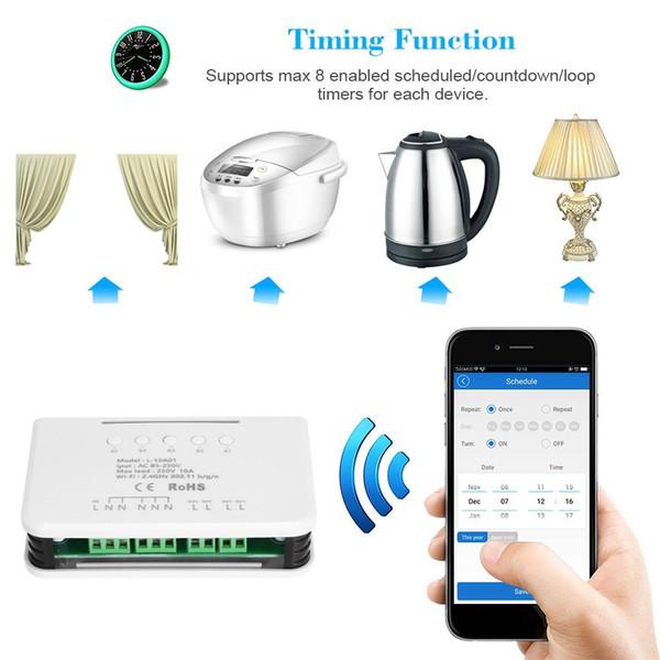 Universal Smart Wifi Switch Module Light Switch RF 433MHz 4 Gang Wireless Remote Control Home Automation Modules for Amazon Alexa Google