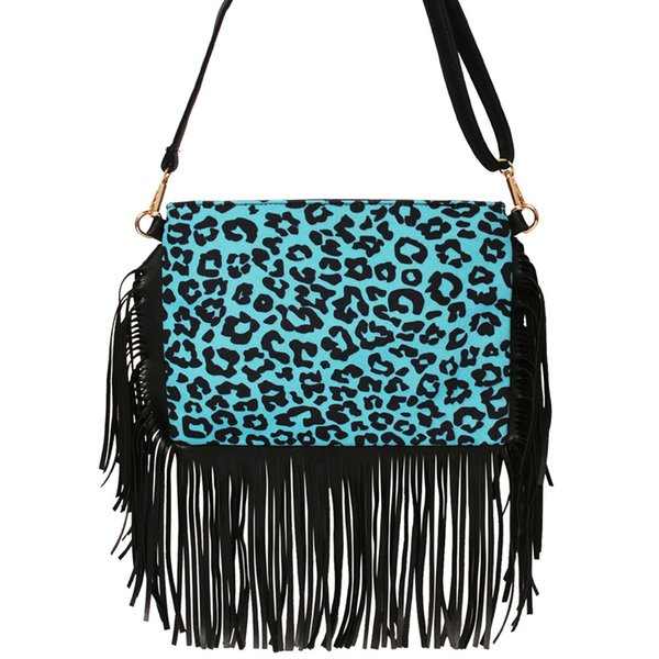 Turquoise Leopard Tassel Bag Wholesale Blanks Blue Canvas Crossbody Purse Endless Shoulder Travel Tote Gift Tassel Clutch DOM1249
