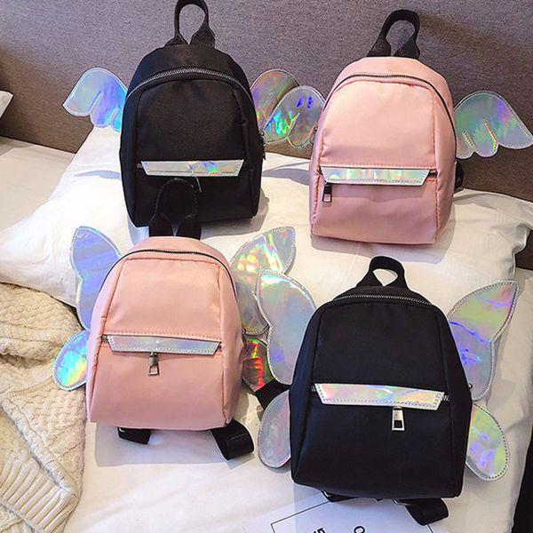 4styles Wings Laser Satchel Girls Little Butterfly Alas de ángel Viajar Bling Laser Mochila Casual School Shoulder Bag regalo de los niños FFA1901