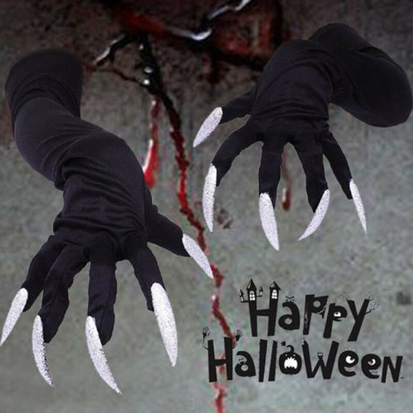 Black Long Fingered Gloves Spooky Halloween Witch Fancy Dress Costume Accessory