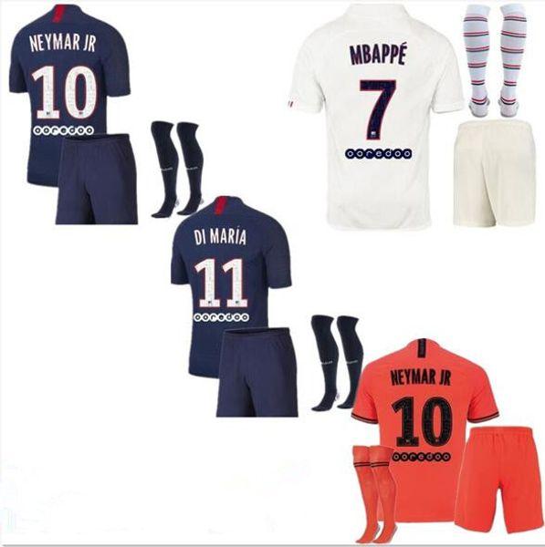 Maillots de Football Kit 19 20 PSG Jersey di calcio 2019 2020 Mbappe ICARDI Marquinhos jersey shirt da Uomo kit set maillot de foot Cavani