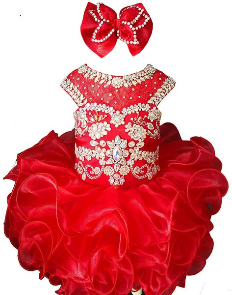 Gorgeous Toddler Cupcake Dresses Little Baby Girls Pageant Dresses For Toddler Lace Crystal Beading Short Mini Formal Party Prom Gown