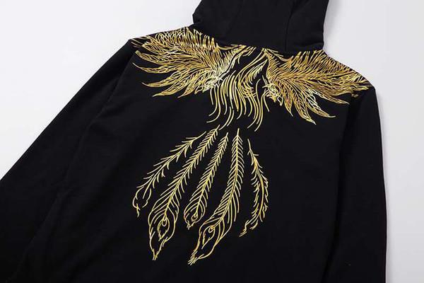 Designer Hoodie 19FW New Angel Padrão MENINO Asas do Men Thicken Sweater Moda UK Marca Classic Black Top Hoodies impressão de ouro luxuoso
