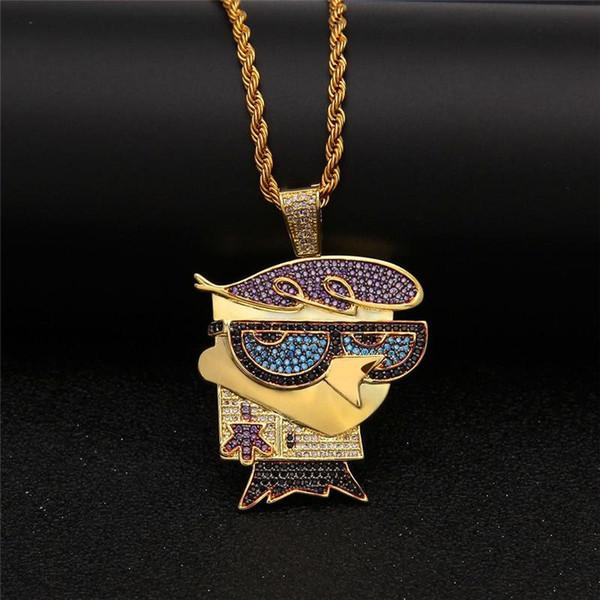Мода животных кулон ожерелья мужчины лед из Bling CZ ожерелье роскошные 18k позолоченные цепи птицы ожерелья хип-хоп ювелирные изделия любовника подарок
