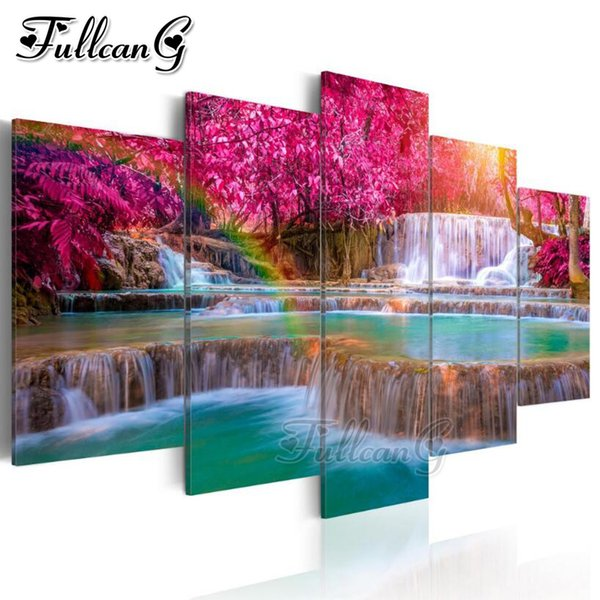 wholesale 5pcs diy diamond painting natural scenery waterfall full square/round drill rhinestone embroidery multi-pictures FC1026