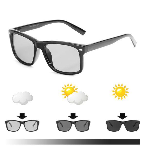 2019 new Men Outdoor Driving Photochromic Chameleon sunglasses Men Polarized Sun glasses square sunglasses Leisure sunglasses