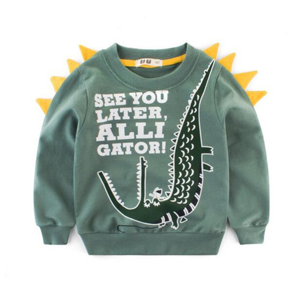 top popular Kids Clothing Baby Sweaters Autumn Newest Fashion Children Cotton Woolen Sweaters Dinosaur letters For Kids Sweatershirt B11 2021