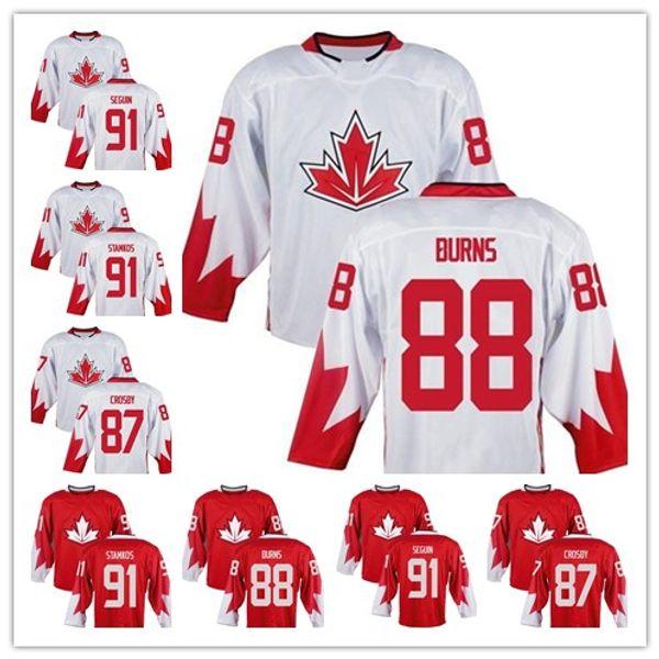 87 Sidney Crosby 88 Brent Burns 91 Steven Stamkos 91 Tyler Seguin Team Kanada 2019 Weltmeisterschaft des Eishockey Premier Home Jersey