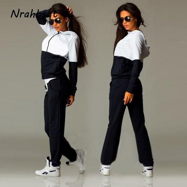 NRAHBSQT Women Sports Suit Tracksuit 2 Piece Yoga Set Women Hooded Sportswear Jogging Track Suit Zipper Gym Clothing FZ073 #212036
