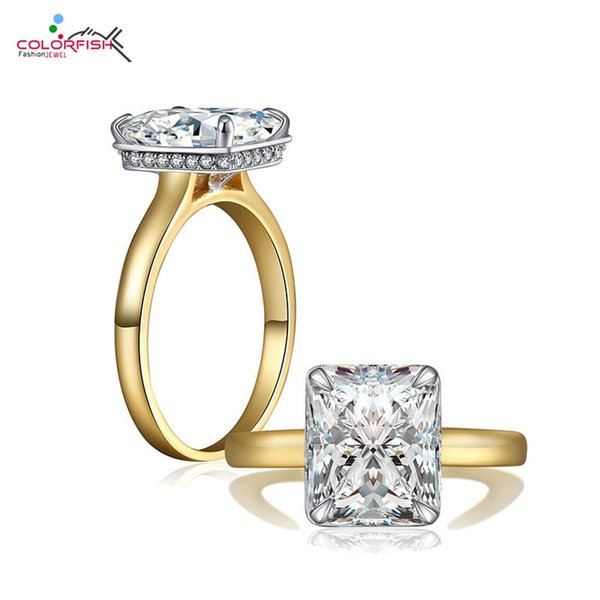 COLORFISH Luxury 4 Carat Princess Cut Sona Solitaire Engagement Ring Gold Color Tow Tone 925 Sterling Silver Ring For Women C18122801
