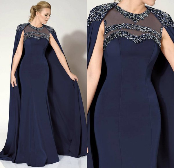 Dark Navy Evening Dresses With Wrap Beads Sequins Jewel Neck Satin Sweep Train Mermaid Prom Gowns Custom Made Mother Of The Bride Dress