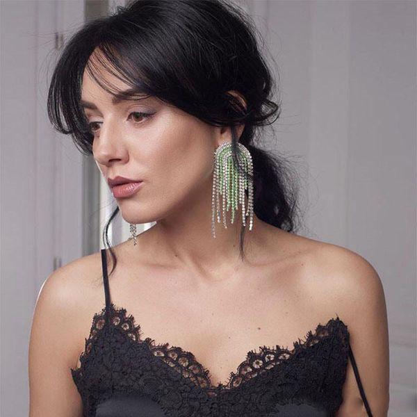Personality Exaggerated Full Rhinestone Stud Fashion Tassel Long Women Earring Night Club Party Lady Earring Jewelry
