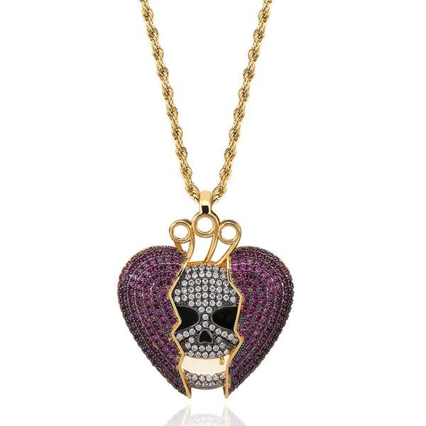 18 Karat Vergoldet Hip Hop Personalisierte Skeleton Gebrochenes Herz Anhänger Kette Halskette Kupfer Iced Out Lila CZ Kubikzircon für Männer und Frauen