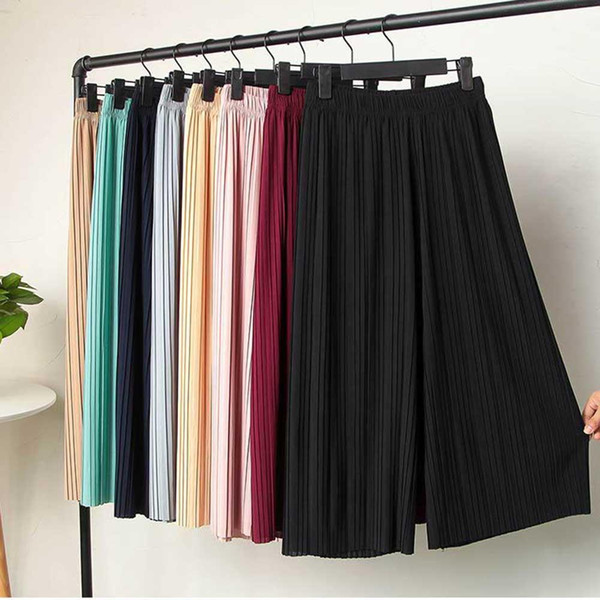 Women's High Waist Ruffled Chiffon Pants Pleated Tall Waist Show Thin Nine Points Wide-legged Pants Elastic Casual Skirts
