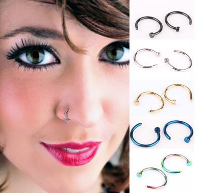 Simple Nose Hoop Ring C Shape Fluorescent Color Fashion Nose Rings Non Piercing Rings Jewelry Women Mens Free Shipping