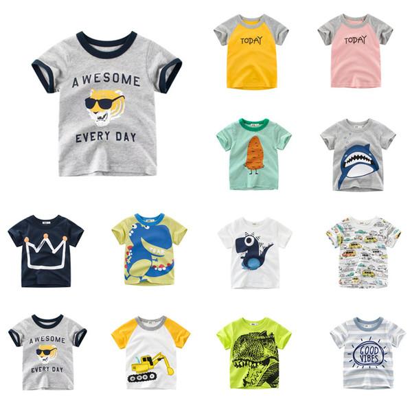 Baby Designer Clothes Tee Summer Infant Cotton Striped Children Boys Girls Tee Cartoon Tiger Shark Girls Short Sleeve Letters T-shirts