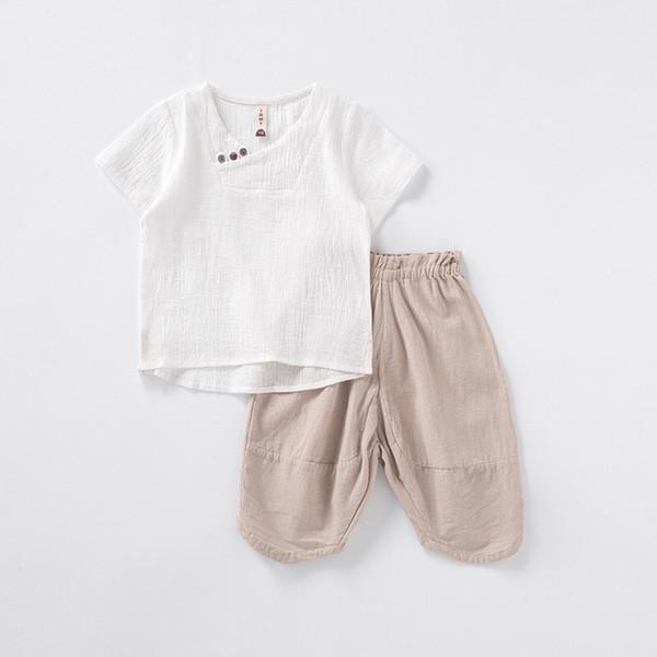 4 Styles INS Organic Linen Cotton Kids Boys Suits Summer Short Sleeve T-shirts Front Oblique Buttons Tees + Pants 2pieces Children Set