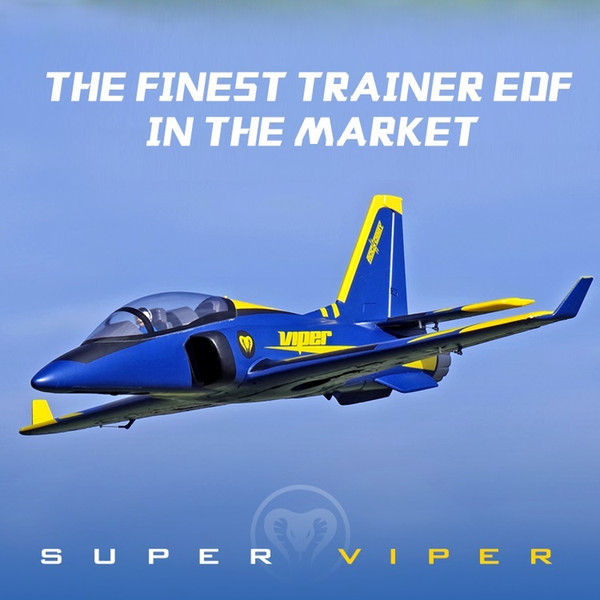 best selling FMS 70mm Ducted Fan EDF Super Viper Jet Trainer Blue 6S 6CH with Retracts Flaps EPO PNP RC Airplane Model Plane Aircraft Avion Y200413