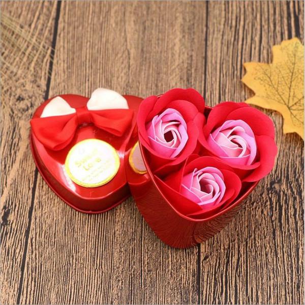 3Pcs/box Heart Scented Bath Body Petal Rose Flower Soap Wedding Decoration Gift Best Bath Shower Soap Decorative Flowers