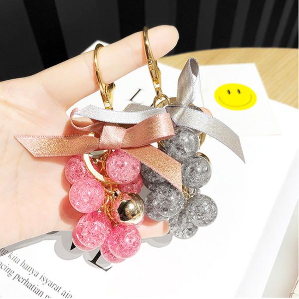 Cute Crystal Grape Key Chain Ribbon Bowknot Trinket Girl Bag Pendant Key Ring Round Ball Beads Keychain Jewelry Accessories