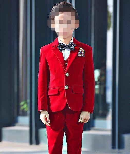 Excellent Fashion Velvet Kids Formal Wear Children Attire Wedding Flower Boy Birthday Party Suits Two Pieces (jacket+pants+vest)