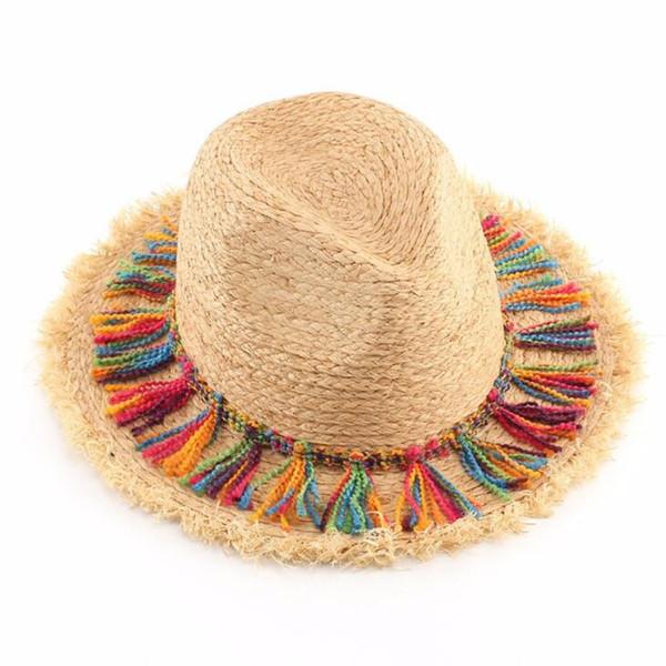 Fashion Bohemian Ethnic Beach Hats Ladies Tassel Rope Large Brim Sun Hat Floppy Raffia Straw Hats Women Sombrero Summer Caps