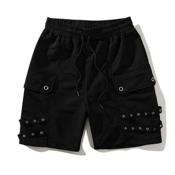 Nuevo estilo occidental de verano de los hombres pantalones cortos de algodón elástico de la cintura suelta Hip Hop Streetwear entrenamiento cortos pantalones de chándal hombre Bermudas Shorts