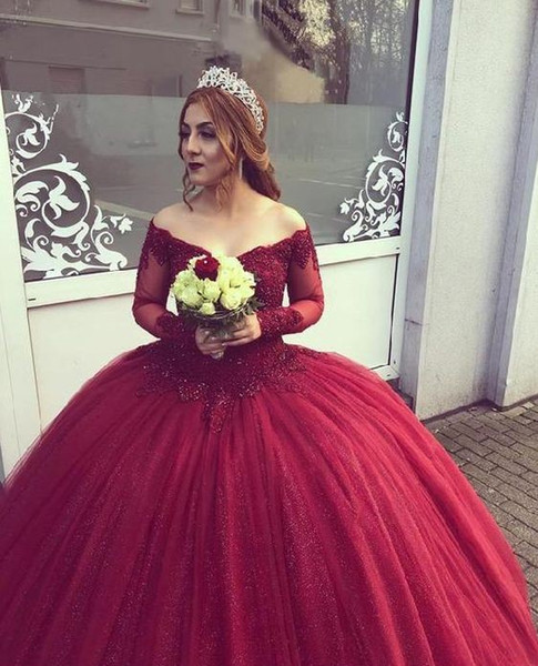 Vintage Wine Red Quinceanera Prom dresses Ball Gown Sequins Fabric Tulle V neck off shoulder Long Sleeves Lace Applique Sweet 16 Dress Cheap