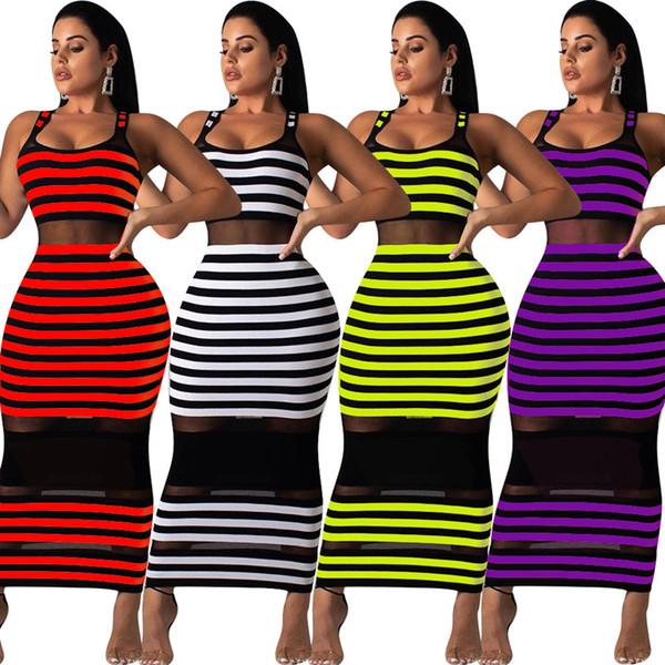 Las mujeres de verano Sheer Midi vestidos sin mangas faldas largas a rayas vestido a media pierna con paneles Sexy Bodycon Beach Dress Plus Size S-2XL 477