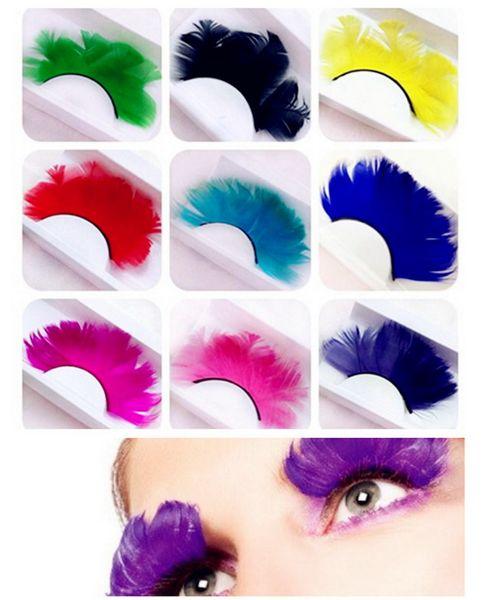 New Feather False Eyelashes Festivals Colorful Stage Lightweight False Eyelashes Overlength Pure Color Cruling Eyelashes One Pair In One Box