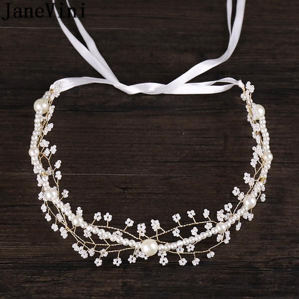 JaneVini Bride Hair Band Pearl Hair Accessories Bridal Head Jewellery for Women Wedding Headband Headwear Bruids Haaraccessoires