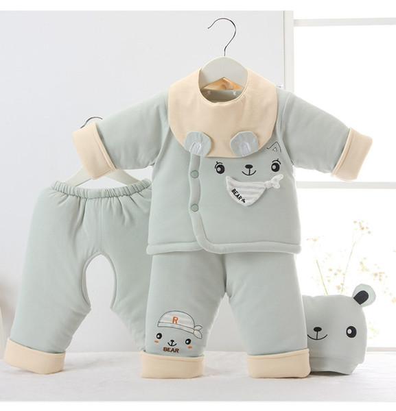 Bebek kış erkek giysileri bebek eşyaları set yenidoğan bebek kız kalın sıcak mont + pantolon + şapka eşofman bebek yürüyor yumuşak giyim setleri için