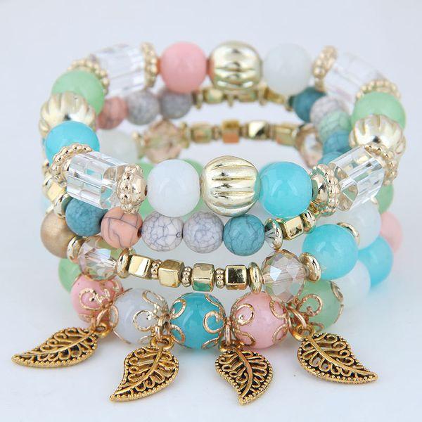 Böhmische Armbänder für Frauen Gold Farbe Multilayer Armband Charme Bijoux Pulsera Hombre Perlen Stein Frauen Armbänder