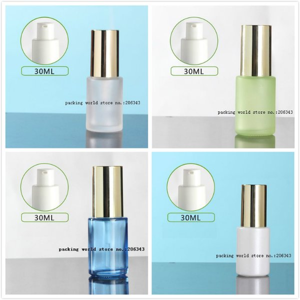 30ml frosted/green/blue/white glass pump bottle shiny gold lid for serum/lotion/emulsion/foundation sprayer toner skin care cosmetic packing