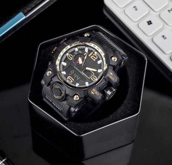 Os homens da marca CSO assistir moda de rua G-SH OCK relógio de luxo preto personalidade de discagem elegante mens relógios eletrônicos pulseira de couro quente casual
