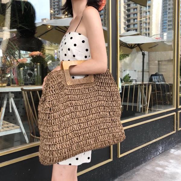 Bolso de playa de verano para mujer INS de gran capacidad para mujer Bolsos hechos a mano bolso de paja para mujeres de rota de rota bolsas de viaje