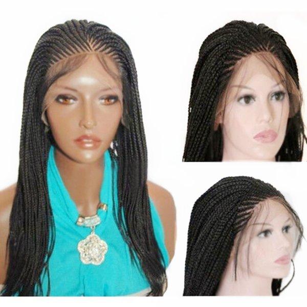 Livraison Gratuite Micro Tresse Perruque avec Cheveux De Bébé Noir Synthétique Avant de Lacet Perruque Résistant À La Chaleur Fibre Tressée Boîte Tresses Perruque pour Femmes Noires