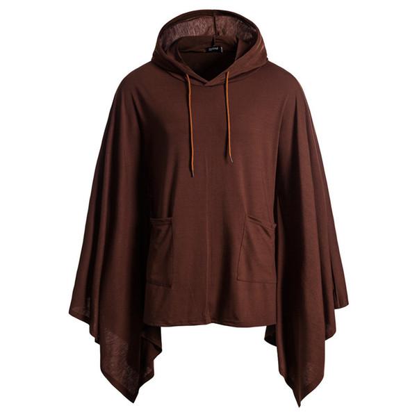 Feitong Autumn Mens Pocket Irregular Patchwork Loose Bat Sleeves Hooded Cloak Cape Coat Hem Sweatshirts Costumes