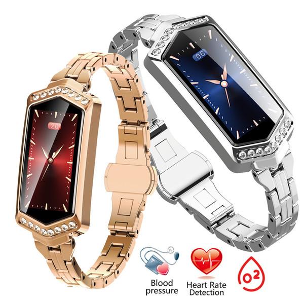 Inteligente Pulseira Mulheres Esporte Rastreador Relógio Monitor de Freqüência Cardíaca Bood Pressão Oxygen Smartwatch Cor LCD Banda Melhor Presente para Senhoras