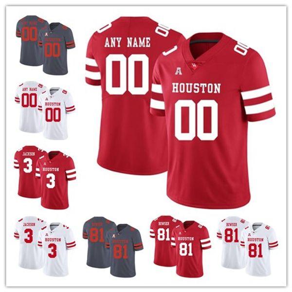 Benutzerdefinierte Houston Cougars Herren Ed Oliver 10 Wilson Whitley 78 William Jackson 3 rote, weiße, graue College Football Trikots