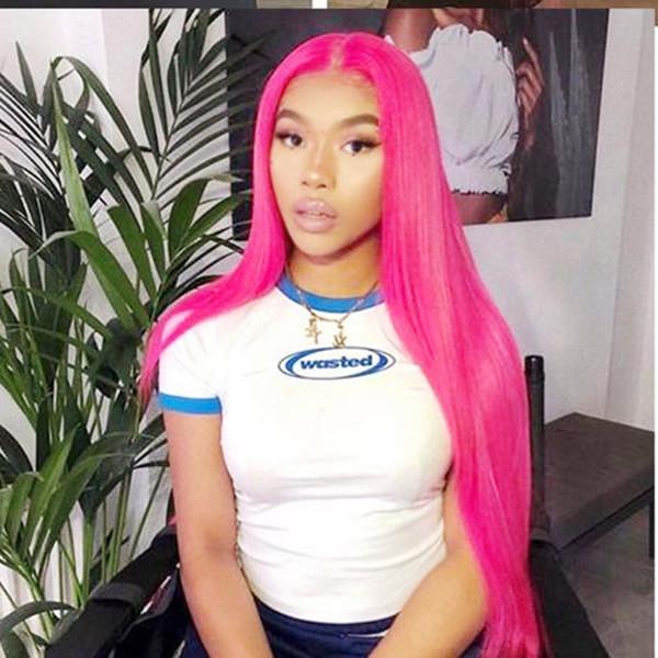Mode 180% densité synthétique avant de lacet perruques pour les femmes Cosplay Rose Rose Couleur Cheveux Naturel Barré Doux Long Soyeux Droite Perruques de Fête