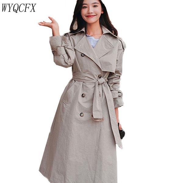 Primavera Outono Mulheres Coreano Windbreaker Coats Manga Longa Bandagem Trincheira Do saco de volta Casaco Chique Feminino Temperamento Sobretudo