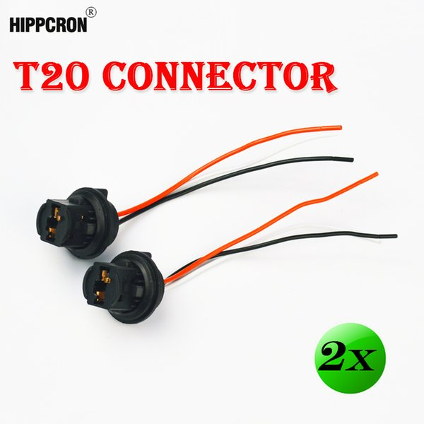 t20 connector Hippcron (2 Pieces/Lot) T20 Connector 10CM 7443 Car Lamp Cable 7440 Auto Bulb Wire 580 W21/5W Light LED Bulbs Socket