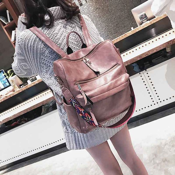 Leather Backpack lady 2019 Students School bags Large Backpacks Multifunction Travel bagss Pink Vintage Back Pack XA529H