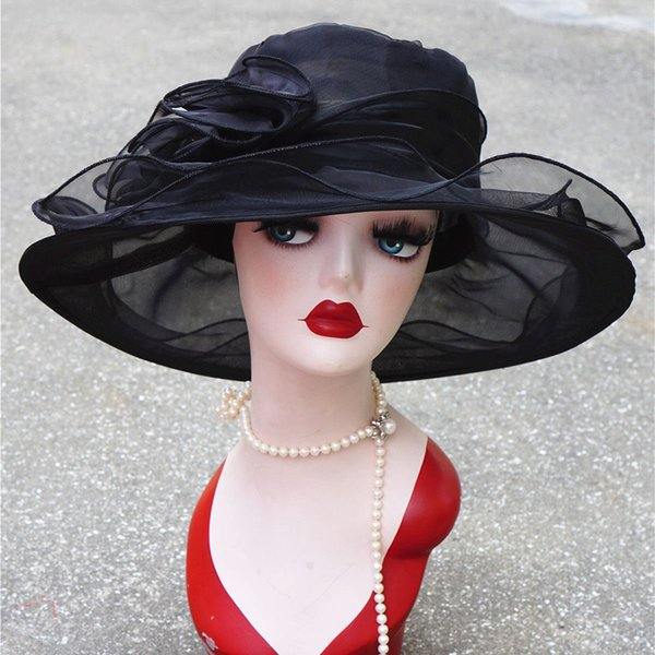 Summer Hat Women Kentucky Derby Wide Brim Sun Hat Wedding Church Sea Beach Hats for Women Floppy Ladies Hat D19011106