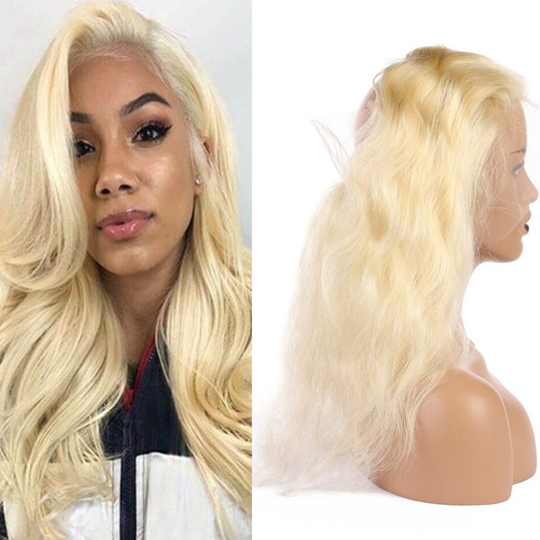 Russian Blonde Human Hair 360 Lace Frontals with Baby Hairs #613 Bleach Blonde Body Wave Virgin Hair Full Frontals 360 Band Lace Closure
