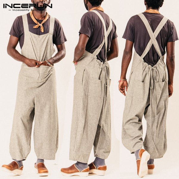 INCERUN 2019 Fashion Jumpsuit Men Casual Pants Striped Loose Overalls Straps Pockets Trousers Men Women Rompers Streetwear S-5XL