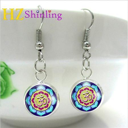 Yoga Jewelry Om Symbol Earring Buddhism Zen Meditation Mandala Art Earrings Glass Cabochon Dome Charm NHE-008