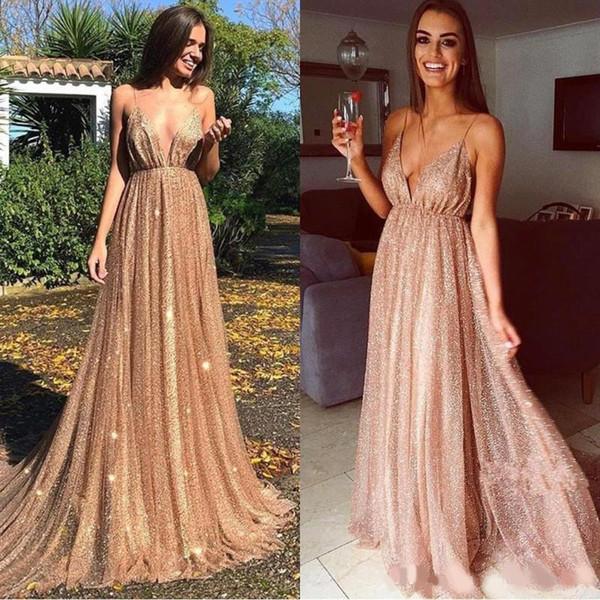 2020 Glitz de oro lentejuelas vestidos de baile espagueti largo sin respaldo de la vendimia de la celebridad del vestido de noche del partido Vestidos formales de desgaste