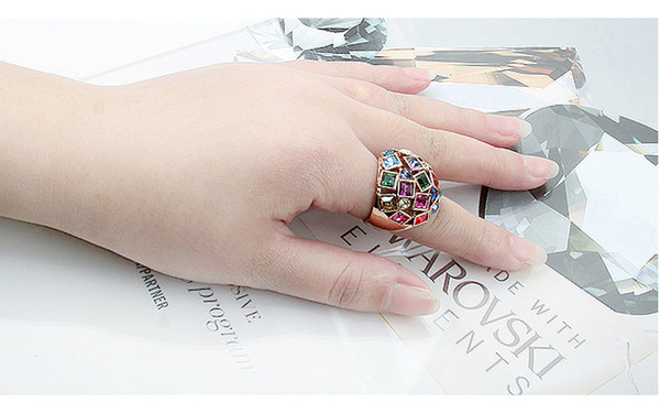 Rose Gold Color Exclusive Engagement Ring With Multicolor Austrian Crystals from Swarovski Fine Jewelry Anillos Bijouterie